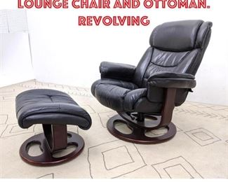 Lot 2036 LANE Black Leather Lounge Chair and Ottoman. Revolving