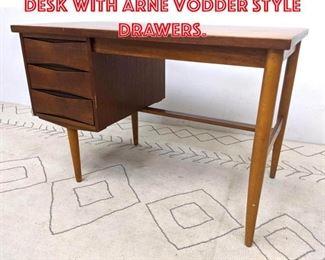 Lot 2038 Danish Modern Teak Desk with Arne Vodder Style Drawers.