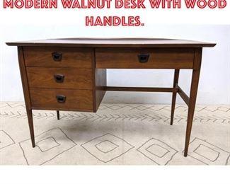 Lot 2044 BASSETT American Modern Walnut Desk with Wood Handles.