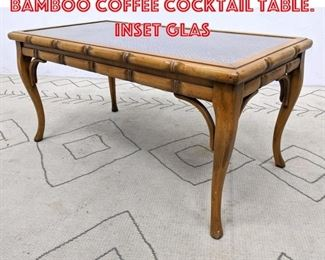 Lot 2049 Decorator Faux Bamboo Coffee Cocktail Table. Inset glas