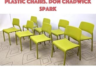 Lot 2058 Set 8 Knoll Stacking Plastic Chairs. Don Chadwick Spark