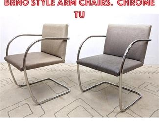 Lot 2059 Pair Knoll Attributed BRNO Style Arm Chairs. Chrome tu