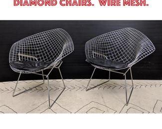 Lot 2061 Pair Chrome Bertoia Diamond Chairs. Wire Mesh.