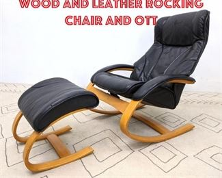 Lot 2063 Modernist Molded Wood and Leather Rocking Chair and Ott