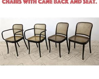 Lot 2072 Set 4 Stendig Bent Wood Chairs with Cane Back and Seat.