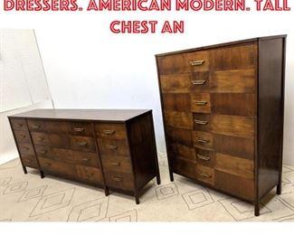 Lot 2073 2pc ROM WEBBER Dressers. American Modern. Tall Chest an