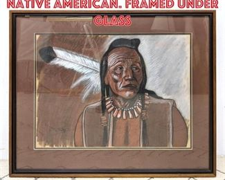 Lot 2078 M. Maley Drawing of Native American. Framed under glass
