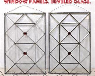 Lot 2079 Pair Leaded Glass Window Panels. Beveled Glass.