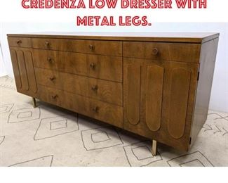 Lot 2080 JOHNSON FURNITURE Credenza Low Dresser with Metal Legs.
