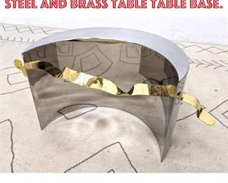 Lot 2082 80s Modern Stainless Steel and Brass Table Table Base.