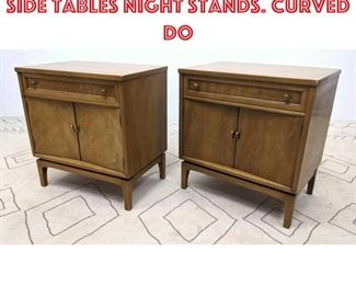 Lot 2092 2pc American Modern Side Tables Night Stands. Curved do