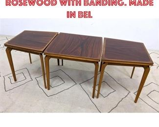 Lot 2093 FABRY 3pc Table Set. Rosewood with banding. Made in Bel