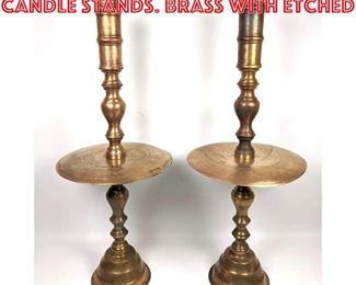 Lot 2095 Pair 30 Large Picket Candle Stands. Brass with etched