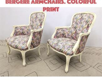 Lot 2098 Pr Painted Wood Frame Bergere Armchairs. Colorful print