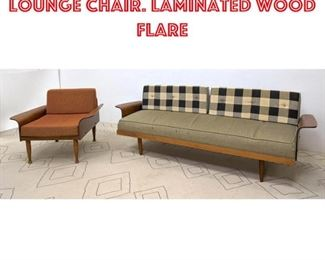 Lot 2099 2pc Modernist Sofa Lounge Chair. Laminated wood flare