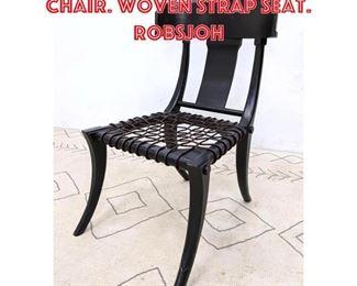 Lot 2101 Ebonized Klismos Side Chair. Woven Strap Seat. Robsjoh