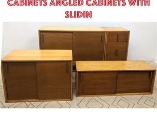Lot 2105 Mid Century Modern Cabinets Angled cabinets with slidin