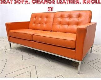Lot 2107 FLORENCE KNOLL Love Seat Sofa. Orange Leather. KNOLL ST