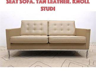 Lot 2108 FLORENCE KNOLL Love Seat Sofa. Tan Leather. KNOLL STUDI