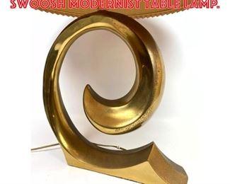 Lot 2110 PIERRE CARDIN Brass Swoosh Modernist Table Lamp.