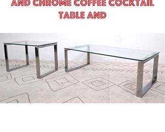 Lot 2115 Contemporary Glass and Chrome Coffee Cocktail Table and