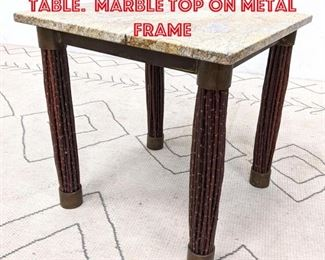 Lot 2120 Decorator Side Square Table. Marble Top on metal frame