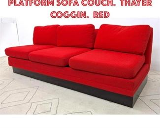 Lot 2126 MILO BAUGHMAN Platform Sofa Couch. THAYER COGGIN. Red