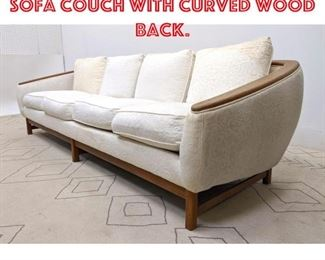 Lot 2127 Danish Modern Style Sofa Couch with Curved wood Back.