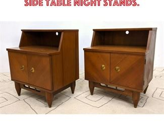 Lot 2132 Pair American Modern Side Table Night Stands.