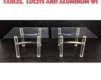 Lot 2133 Mid Century Modern Side Tables. Lucite and aluminum wi