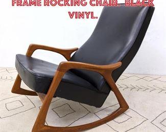 Lot 2134 Danish Modern Teak Frame Rocking Chair. Black Vinyl.