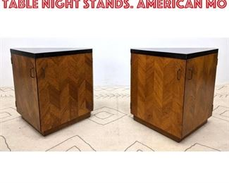 Lot 2136 Pair Triangle Form Side Table Night Stands. American Mo