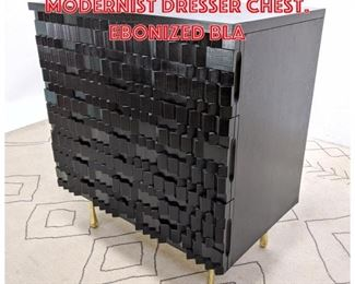 Lot 2137 Dimensional Front Modernist Dresser Chest. Ebonized Bla