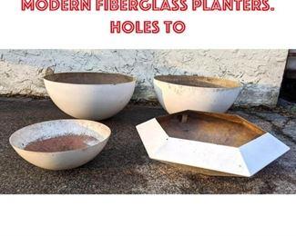 Lot 2140 4pcs Mid Century Modern Fiberglass Planters. Holes to