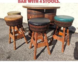 Lot 2141 Vintage Barrel Bar Set. Bar with 4 Stools.