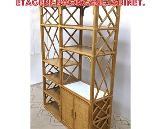 Lot 2142 Bamboo and Rattan Etagere Bookcase Cabinet.