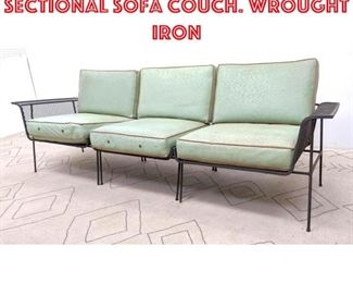 Lot 2145 Salterini Style 3pc Sectional Sofa Couch. Wrought iron