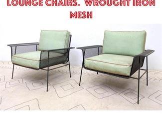 Lot 2144 Pair Salterini Style Lounge Chairs. Wrought Iron Mesh