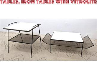 Lot 2146 2pcs Salterini Style Tables. Iron tables with Vitrolite