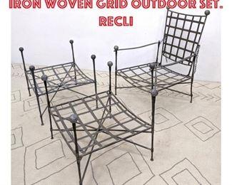 Lot 2148 3pc MARIO PAPPERZINI Iron Woven Grid Outdoor Set. Recli