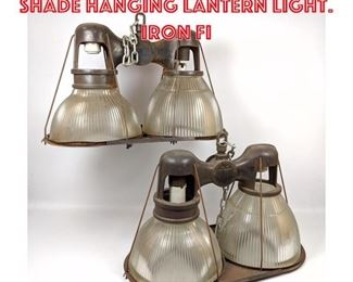 Lot 2154 2 HOLOPHANE Double Shade Hanging Lantern Light. Iron Fi