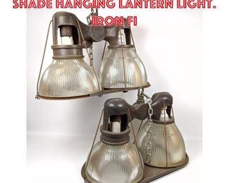 Lot 2155 2 HOLOPHANE Double Shade Hanging Lantern Light. Iron Fi