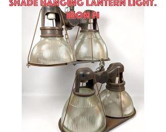 Lot 2156 2 HOLOPHANE Double Shade Hanging Lantern Light. Iron Fi