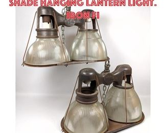 Lot 2157 2 HOLOPHANE Double Shade Hanging Lantern Light. Iron Fi