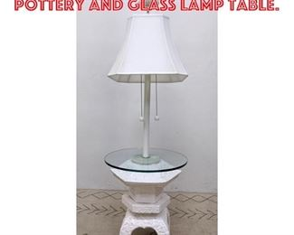 Lot 2163 Decorator Asian Style Pottery and Glass Lamp Table.