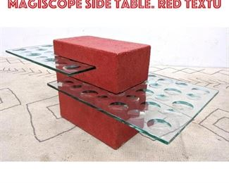 Lot 2166 Industrial Glass 2 Tier Magiscope Side Table. Red Textu