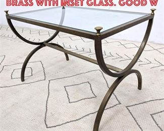 Lot 2167 Regency style side table brass with inset glass. good w