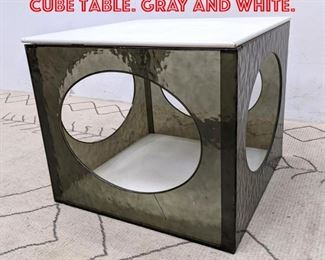 Lot 2172 Retro Modern Plastic Cube Table. Gray and white.