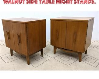Lot 2177 Pair American Modern Walnut Side Table Night Stands.