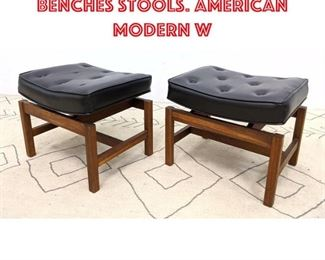 Lot 2183 Pair JENS RISOM Style Benches Stools. American Modern W